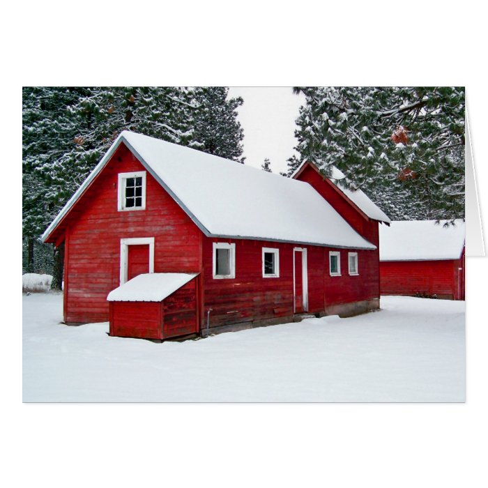 Red Barns in Snow Note Card