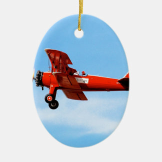 Red Baron Bi Plane Ceramic Oval Decoration