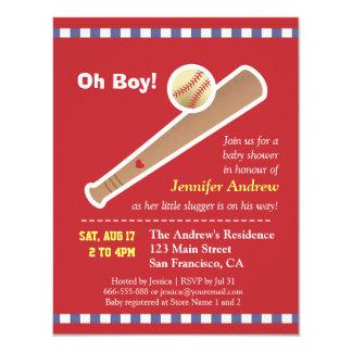 Red baseball baby shower 11 cm x 14 cm invitation card