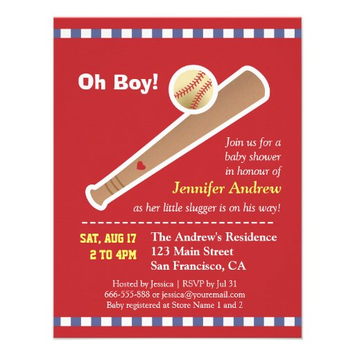 Red baseball baby shower personalized announcements