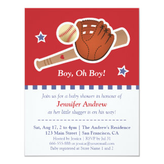 Red baseball baby shower party card