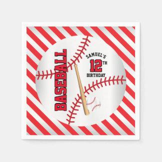 Red Baseball Birthday Design | Personalize Paper Napkin