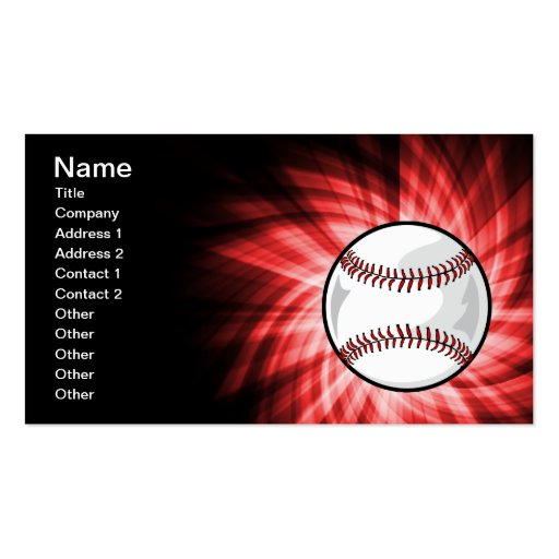 Red Baseball Business Card Template
