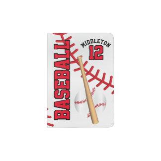 Red Baseball Design | Personalize Passport Holder