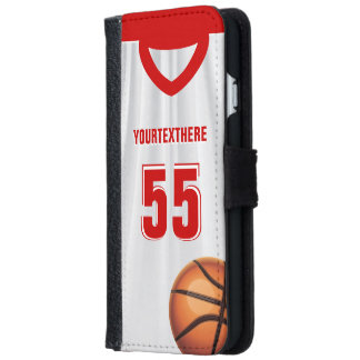 Red BasketBall Dress Name Number iPhone 6 Wallet Case