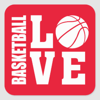 Red Basketball Love, Basketball Square Sticker