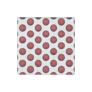 Red Basketball Pattern Stone Magnet