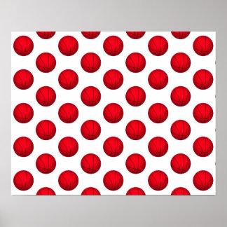 Red Basketball Pattern Print