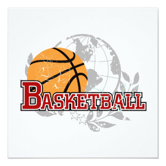 Red Basketball T-shirts and Gifts 13 Cm X 13 Cm Square Invitation Card