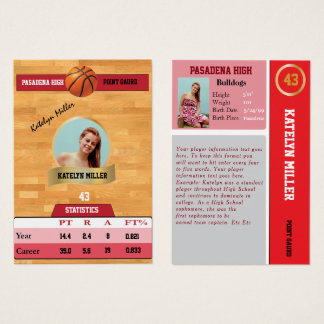 Red Basketball Trading Sports Card w/ Autograph