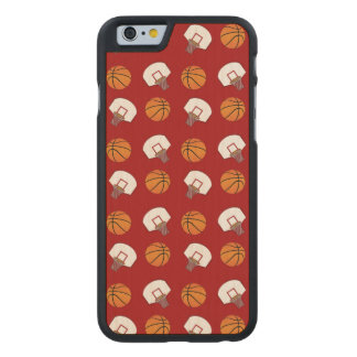 Red basketballs and nets pattern carved® maple iPhone 6 slim case