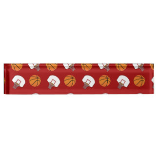 Red basketballs and nets pattern desk name plates