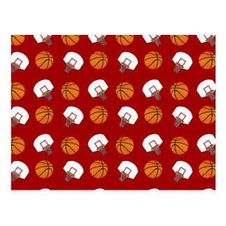 Red basketballs and nets pattern postcard