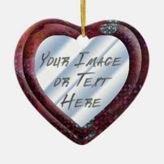 Red Batik Heart Frame Ceramic Heart Decoration