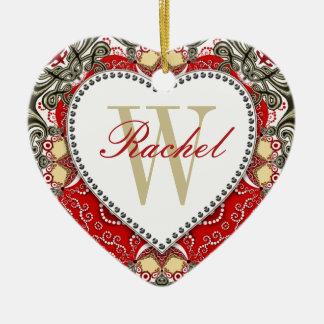 Red Batik Monogram Love Heart Ornament