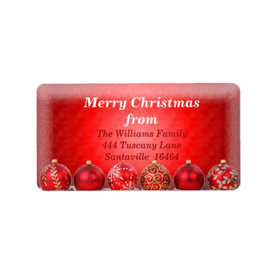 Red Bauble 2 Address Label