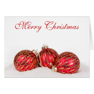 Red Bauble Christmas Card - Personalised