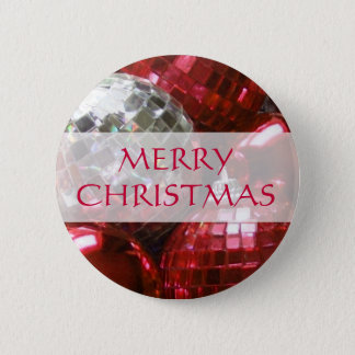 Red Baubles 'Merry Christmas'  button