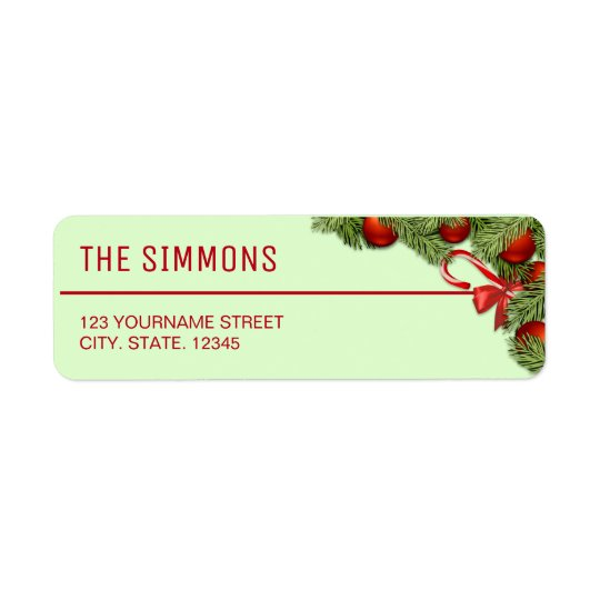 Red Baubles Pine Leaves Christmas Return Address Label