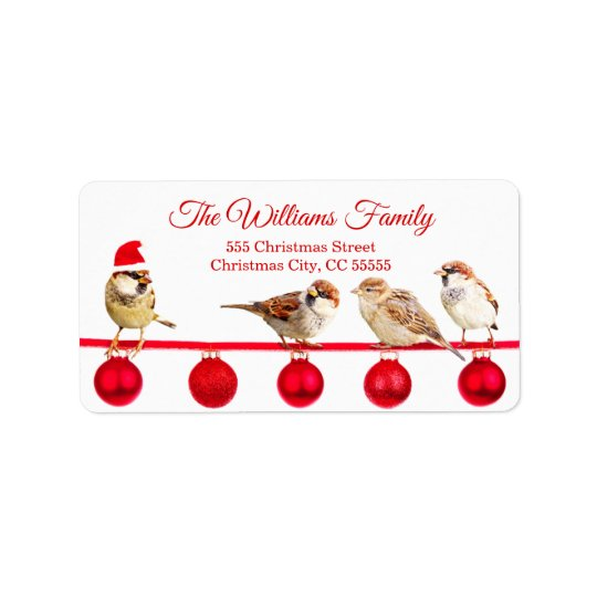 Red Baubles with Sparrows Merry Christmas Address Label