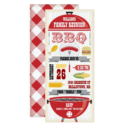 RED BBQ GRILL FAMILY REUNION INVITATION