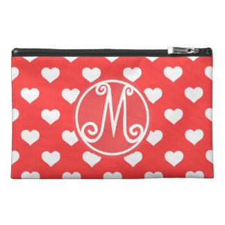 Red BD Heart Monogram Travel Accessories Bag
