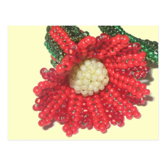 Red Beaded Trumpet Flower Postcard