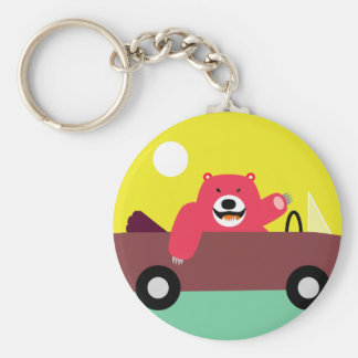 Red Bear in Car Basic Round Button Key Ring