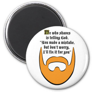red beard 6 cm round magnet