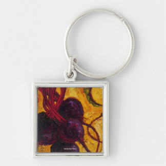 Red Beets Silver-Colored Square Key Ring
