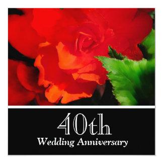 Red Begonia Wedding Anniversary Invitation