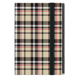 Red Beige Black White Squares Tartan Plaid Pattern iPad Mini Cover