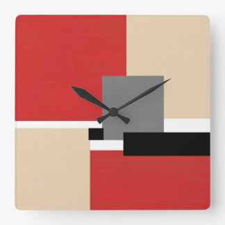 Red Beige Gray Black White Geometric Square Wall Clock