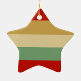 Red Beige Green Stripe Star Tree Ornament
