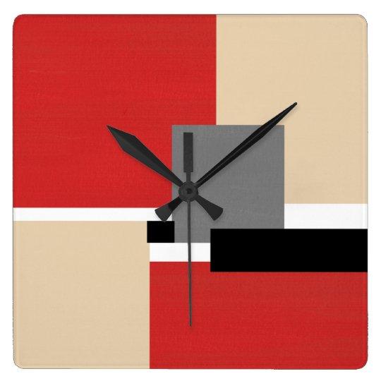 Red Beige Grey Black White Geometric Square Wall