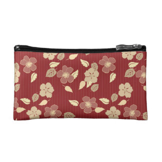 Red & Beige Hibiscus Floral Print Cosmetic Bag