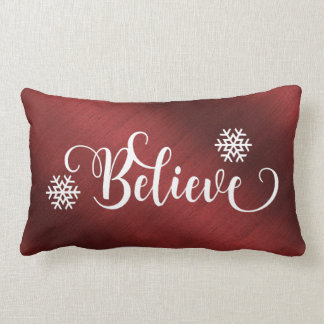 Red Believe Christmas Pillow