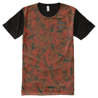 Red Bell Blossoms Brown Designer Modern Shirt All-Over Print T-Shirt