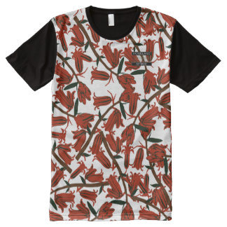 Red Bell Blossoms White Designer Modern Shirt All-Over Print T-Shirt
