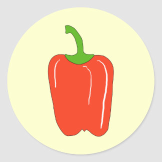 Red Bell Pepper. Whole. Classic Round Sticker