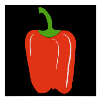 Red Bell Pepper. Whole. Poster