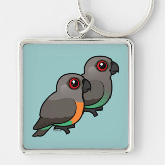 Red-bellied Parrot Pair Key Chains