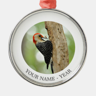 Red-Bellied Woodpecker Silver-Colored Round Decoration
