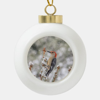 Red-bellied Woodpecker in the snow Ceramic Ball Christmas Ornament