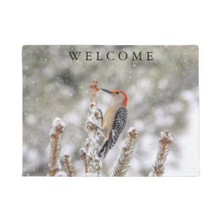 Red-bellied Woodpecker in the snow Doormat