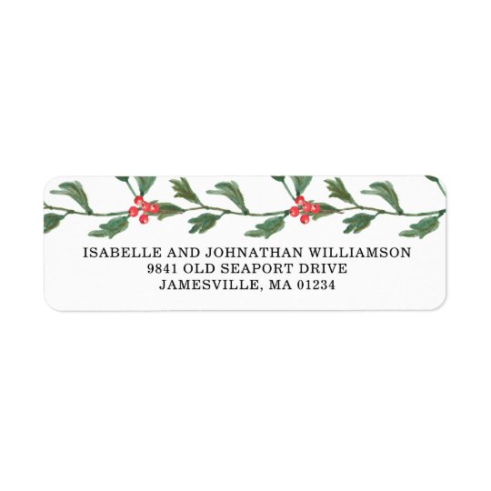 Red Berries and Greenery Return Address Labels
