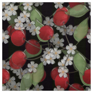 Red berries , cherry fabric