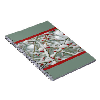 Red Berries in Snow Spiral Notebook