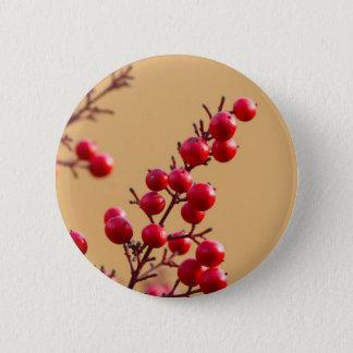 red berries in the garden 6 cm round badge