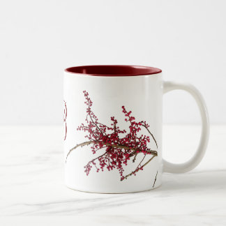 Red Berries on Dormant Tree Branch Two-Tone Mug